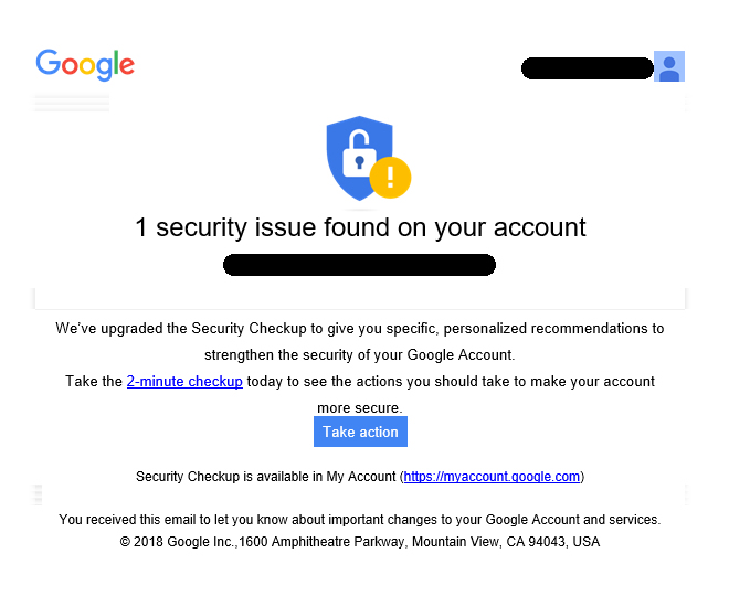 google security checkup emails